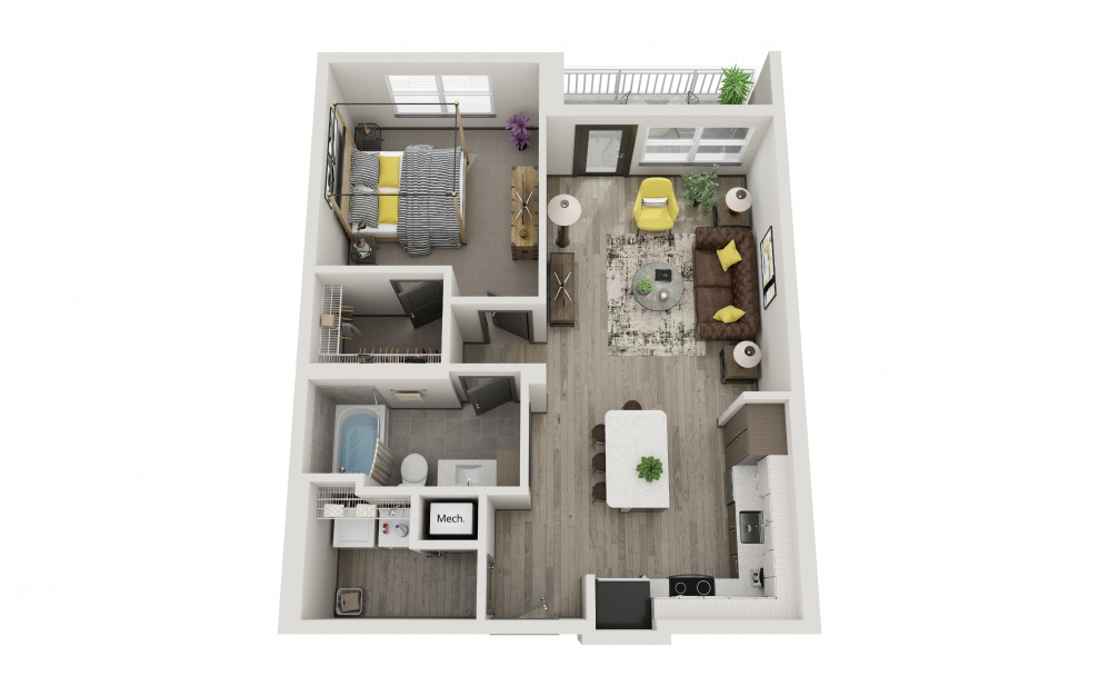 The Christina - 1 bedroom floorplan layout with 1 bath and 790 square feet.