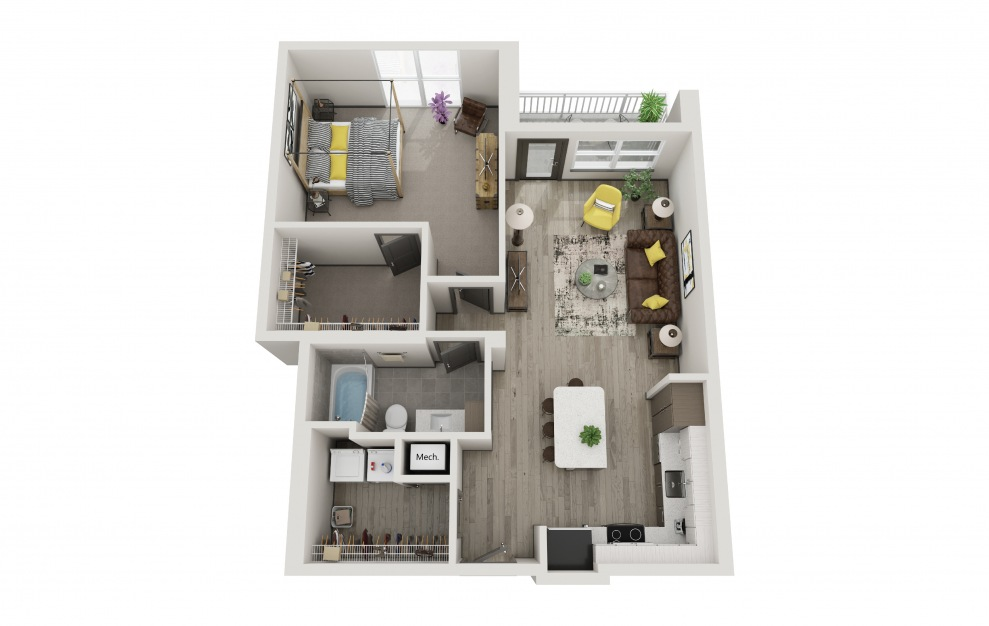 The Julie - 1 bedroom floorplan layout with 1 bath and 917 square feet.