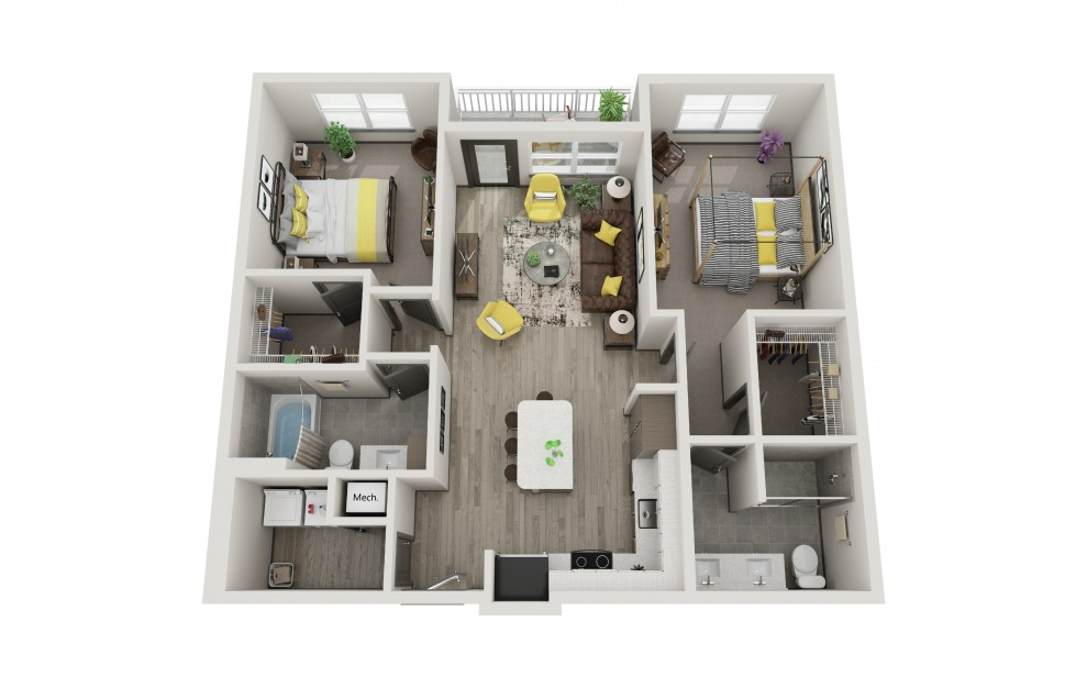 The Lucy - 2 bedroom floorplan layout with 2 baths and 1108 square feet.